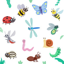 Insect Set. Cute Insects, Cartoon Style. Flying And Crawling. Butterfly, Bee, Wasp, Fly, Ladybug, Dragonfly, Ant, Colorado Beetle, Mosquito, Caterpillar, Snail, Worm. Isolated Illustration