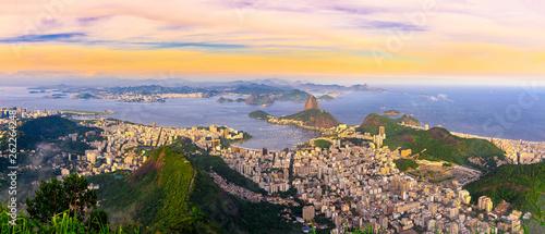 Canvas Prints Rio de Janeiro The mountain Sugarloaf and Botafogo in Rio de Janeiro, Brazil. One of the main landmark of Rio de Janeiro. Sunset skyline of Rio de Janeiro
