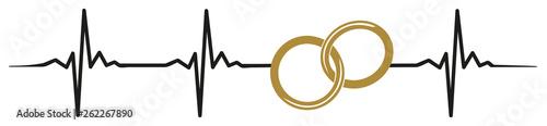 Fotografie, Obraz  Wedding rings marriage heartbeat #isoliert #vektor - Hochzeit Ehe Ringe Heirat H