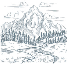 Mountains River Engraving. Outdoors Travel, Mountain Adventures And Snake Rivers Vintage Hand Drawn Landscape Vector Illustration