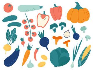 Ručno nacrtano povrće. Veggies nutricionistički doodle logotipi, organska veganska hrana i povrtni doodles doktori Vector set ilustracija