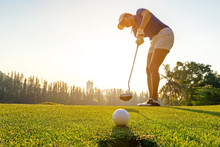 Sport Healthy. Golfer Asian Sp...