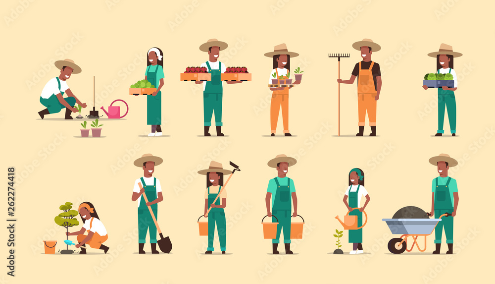 Fototapety, obrazy: set african american farmers holding different farming equipment harvesting planting vegetables male female agricultural workers collection eco farming concept full length horizontal
