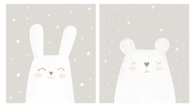 Cute Hand Drawn White Rabbit A...