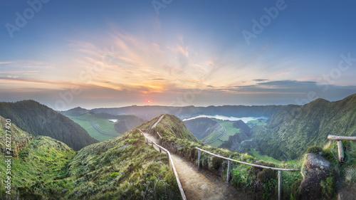Photo sur Toile Route dans la forêt Mountain landscape Ponta Delgada island, Azores Portugal
