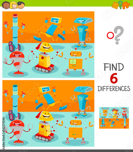 Fotografie, Obraz  differences game with happy cartoon robots
