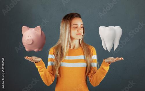 Fotografie, Obraz  Dental care, tooth on hand