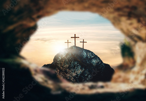 Fotografie, Obraz  Crucifixion of Jesus Christ, three crosses on hill, 3d rendering