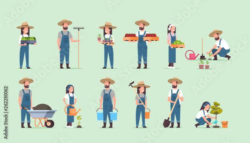 Tablou Canvas set male female farmers holding different farming equipment harvesting planting