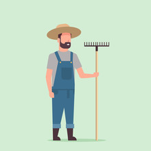 Gardener Holding Rake Country Man Working In Garden Gardening Eco Farming Concept Full Length