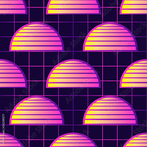 Retrowave Style Seamless Pattern With Sunset Symbols Futuristic
