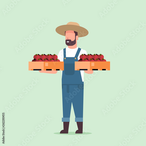 Fotografía  male farmer holding boxes with red ripe tomatoes man harvesting vegetables agric