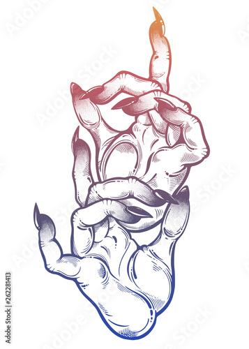 Obraz na plátně Demonic hands witch hands with dark long nails, witchraft extravaganza