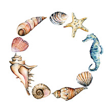 Seashells Frame, Border, Marine Scenery. Watercolor Seahorse, Starfish And Other Shells. Travel, Beach Design Isolated On White Background. Hand Drawing.