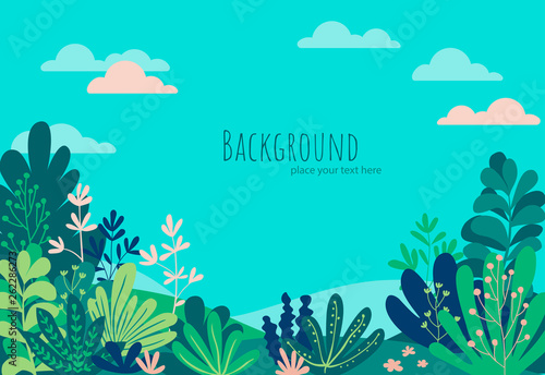 In de dag Groene koraal Vector illustration in trendy flat simple style - tropical background with copy space for text - landscape with beach, palm trees, plants - background for banner, greeting card, poster