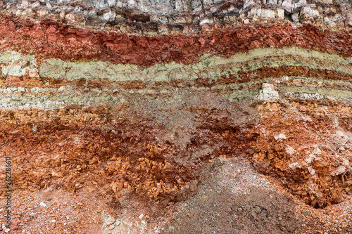Fototapeta  texture of different layers of clay underground in  clay quarry after geological study of soil. obraz