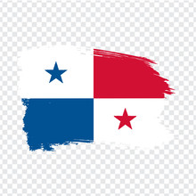 Flag Of Panama From Brush Strokes.  Flag Panama On Transparent Background For Your Web Site Design, Logo, App, UI. Stock Vector. Vector Illustration EPS10.
