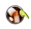 Glass of Rum and Cola cocktail on white background, top view. Traditional alcoholic drink