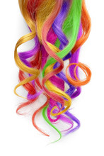 Multicolored Hair Isolated On White Background. Colorful Dyed Hair