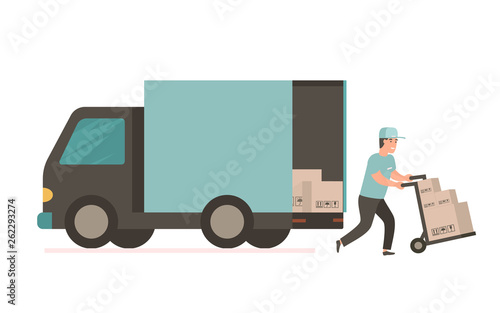 Leinwand Poster Courier with cardboard box. Vector delivery truck