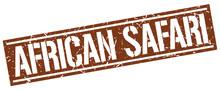 African Safari Square Grunge Stamp