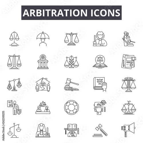 Vászonkép  Arbitration line icons, signs set, vector