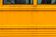 Old Yellow School Bus In New York City, USA