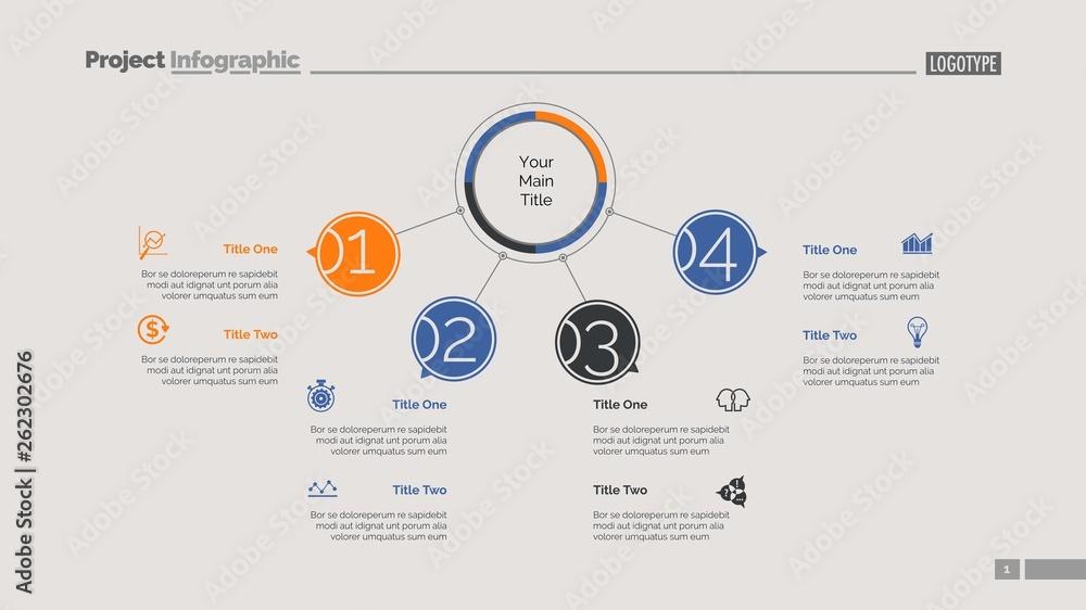 Fototapety, obrazy: Four Points Workflow Slide Template