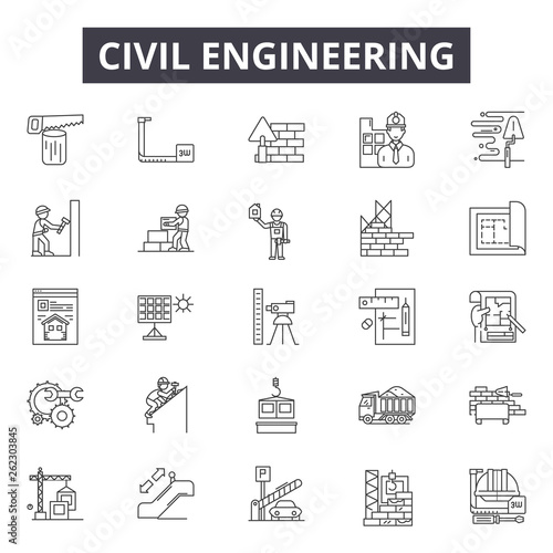 Valokuva Civil engeneering line icons, signs set, vector