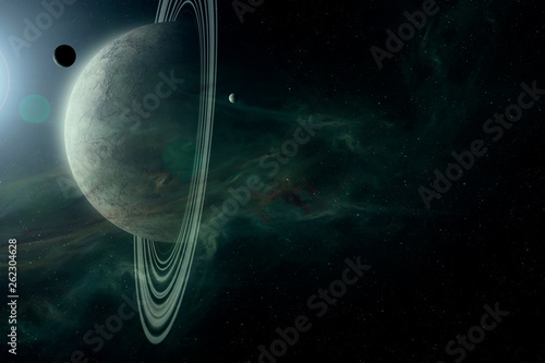 science fiction space scene, planet with rings  and moons in bright star light a Fototapet