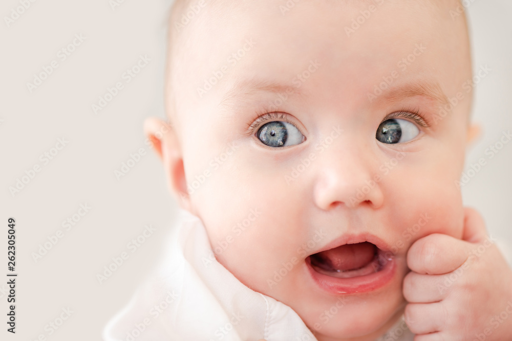 Fototapety, obrazy: Portrait of cute baby infant with fist