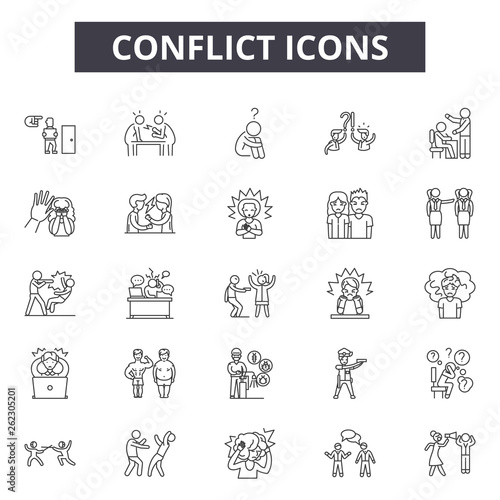 Conflict line icons, signs set, vector Fototapete