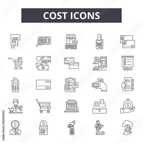 Fotografía  Cost 2 line icons, signs set, vector