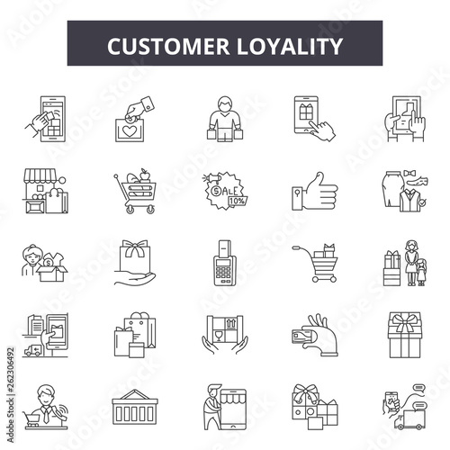 Customer loyality line icons, signs set, vector Wallpaper Mural
