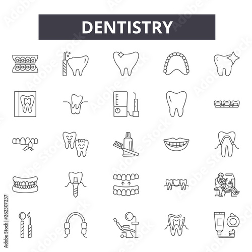 Dentistry line icons, signs set, vector  Dentistry outline