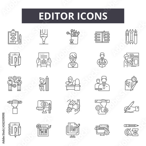 Fototapeta Editor line icons, signs set, vector