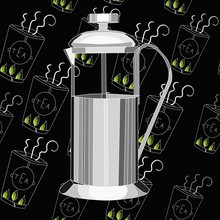 French Press Coffee Pot On A Cartoon Black Background