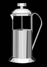 French Press Coffee Pot Isolated In Black