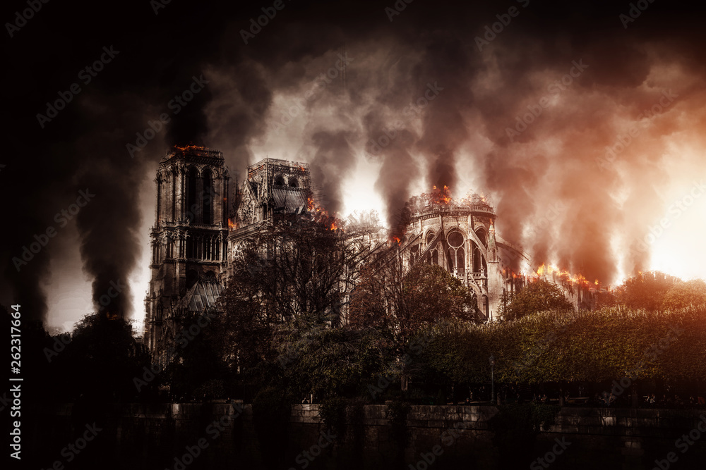 Fototapety, obrazy: Burning Notre Dame in Paris (Composing)