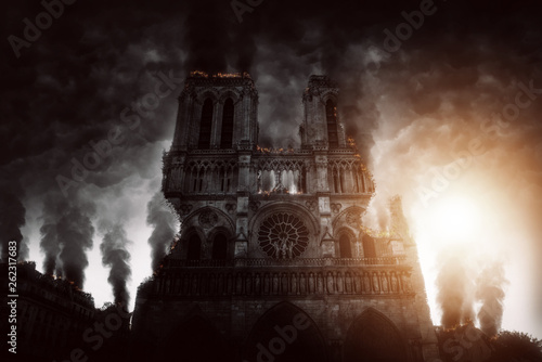 Burning Notre Dame in Paris (Composing) Wallpaper Mural