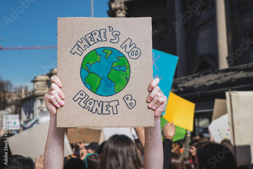 Fototapeta There is no planet b poster claim during a street protest for climate change, fridays for future obraz