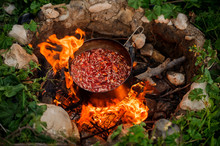 Yummy Stew In A Pan On Campfire