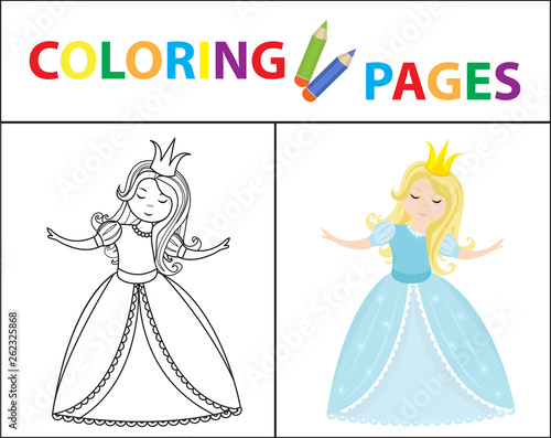 Coloring book page for kids. Cinderella little princess ...