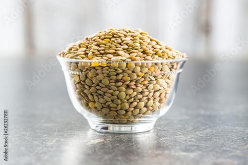 Uncooked dried lentil.