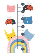 Kid Height Chart With Cute Animals. Scale  1:1. Vector Hand Drawn Illustration.