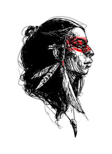 Vector Hand Drawn Illustration With American Indian Girl Isolated On White. Graphic Portrait Of Tribal Woman With Feathers On Head And Makeup On Face