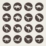Fototapeta Dinusie - Dinosaurs icon set