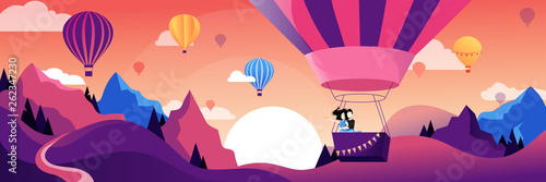 Obraz Couple flying hot air balloon above mountains. Air balloon festival vector flat illustration. Romantic summer travel - fototapety do salonu