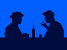 Two Men Drink Whiskey In A Bar...