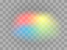 Color Light Effect Isolated On Transparent Background. Light Transparent Spot. Yellow, Blue, Green, Red